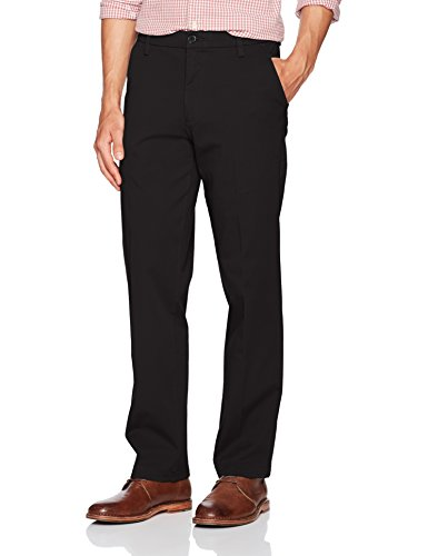 Dockers Men's Straight Fit Workday Khaki Smart 360 Flex Pants, Black (Stretch), 34W x 32L