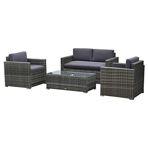 Outsunny 4 Pieces Outdoor Wicker...
