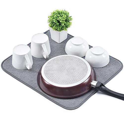 KINGRACK Mikrofibermatta för disk, vändbar snabbtorkande disktorkande maträtter, glasögon, tallrikar, stjälkar, bordstillbehör, absorberande matta för köksbänk