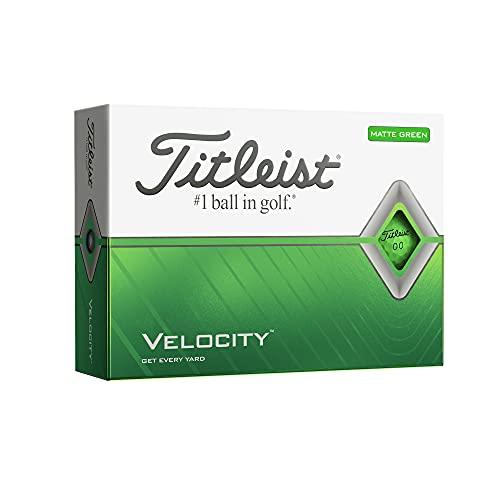 Titleist Velocity Golf Balls, Matte Green, (One Dozen) (T8425S-M)