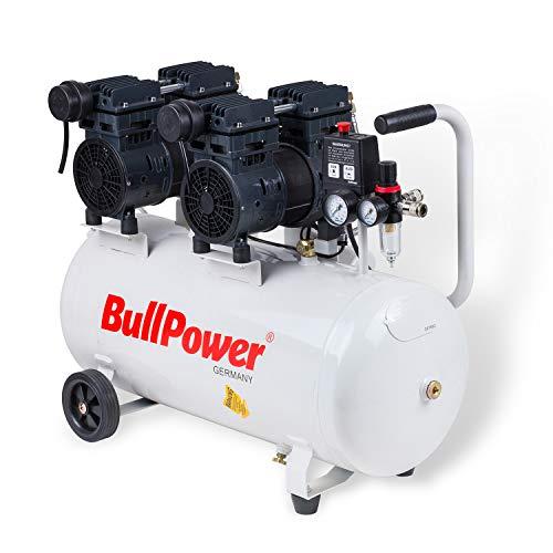 BullPower Flüsterkompressor Silent DK-80 Druckluft Druckluftkompressor leise 68dB - 8bar - 50L - 280 L/min.
