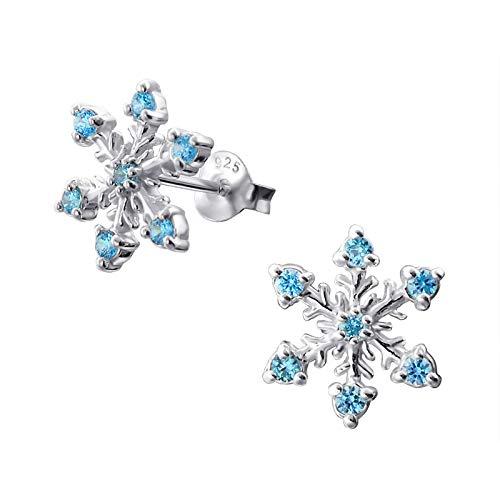 Elegantes pendientes de plata de ley con diseño de copos de nieve con incrustaciones de circonita cúbica de color azul