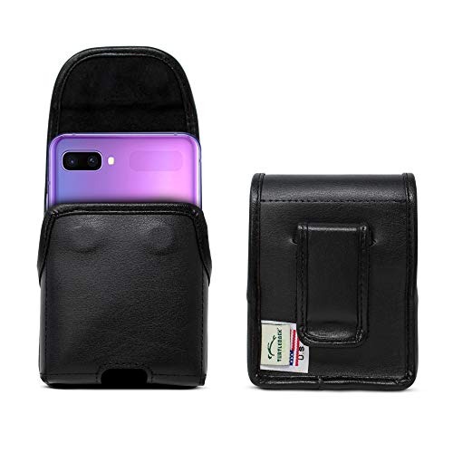 Turtleback Holster Designed for Samsung Galaxy Z Flip (2020) 5G (2019) Vertical Belt Case Black Leather Pouch with Executive Belt Clip, Made in USA