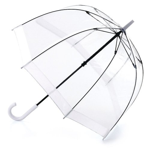 Fulton Birdcage-1 durchsichtige Kuppel Regenschirm mit weißem Rand
