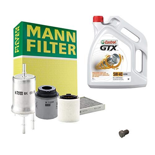 Inspektionspaket MANN-FILTER + 5L Castrol GTX 5W40 Filterset Service-Set SET P-H-05-00136 Service/Wartung