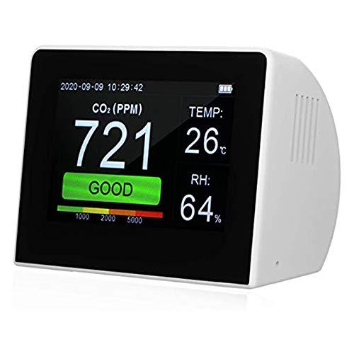 Carbon dioxide detector 400 ~ 4000 ppm, CO2-Messgerät Kohlendioxid-Detektor, mit Temperatur- / Luftfeuchtigkeitsmonitor TFT-Farbbildschirm Dauerbetrieb Datenspeicherfunktion for Haushaltsbürofahrzeuge