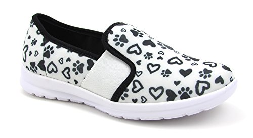 Sunny Women's Cute Memory Foam Elastic Gore Nursing Shoes - Printed - Florence (5, Paws and Hearts W/B)