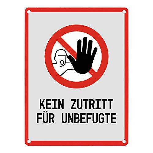 trendaffe - Kein Zutritt für Unbefugte Warn- und Hinweisschild in Grau mit Piktogramm