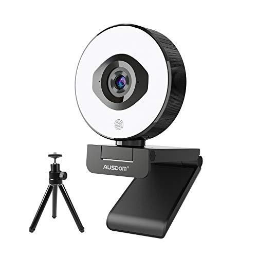 Webcam streaming 1080P/60fps autofocus con treppiede, AUSDOM AF660 StreamCam con luce ad anello regolabile integrata e doppio microfono con riduzione del rumore per PC, MAC, livestreamer, OBS, Xsplit