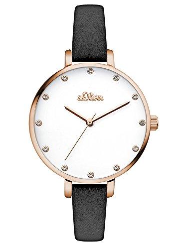 s.Oliver Damen Analog Quarz Armbanduhr mit Leder Armband SO-3456-LQ