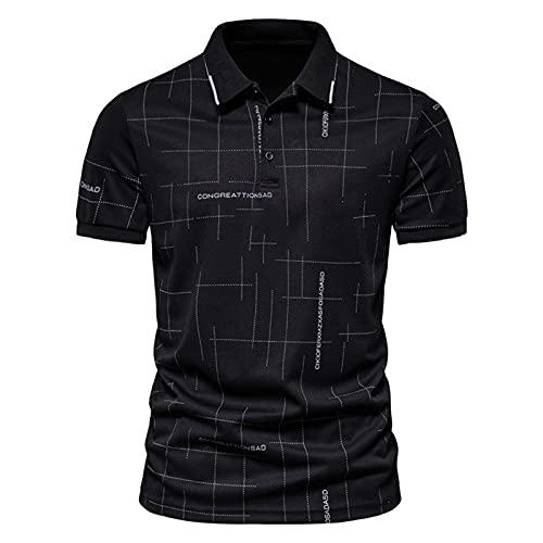 T-Shirt Sommer Herren Kontrast Gestreiftes Revers Kurzärmeliges Polo-Shirt Slim Fit T-Shirt Polohemd Sport Stripe Polo Shirts Tops Kleidung Daily Casual Revers Kurzarm Poloshirt Hemdbluse