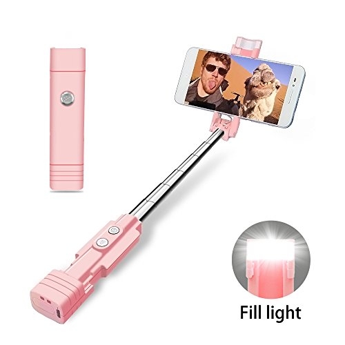 atongm Bastone Selfie Bluetooth Selfie Stick, Mini Selfie Sticks con LED Fill Light per iOS Android e Altro (Rosa)
