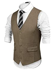 Coofandy Men's Waistcoat Casual Classic Slim Fit Formal Solid Waistcoat Vest with Pocket, Khaki, M #2