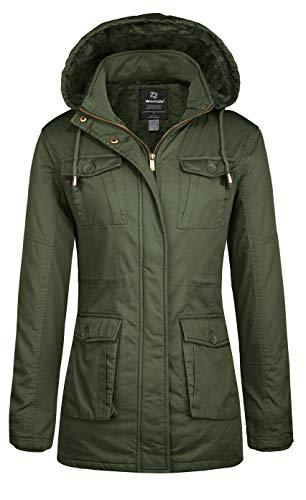 Wantdo Cappotto Invernale Caldo Giacca in Cotone a Vento Cappotto con Cappuccio Jacket Outdoor Casual Donna Verde Militare XXL