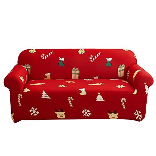 Enhome Navidad Funda para Sofá de 1 2 3 4 plazas, Universal Antideslizante Elástica Extensible Fabric Impresa Protector Cubierta Cubre de Sofá Fundas, 2 Plazas
