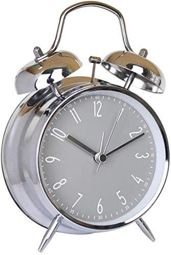 teapotmll Mechanische en wind tot klok Desktop wekker Digitale wekker Metalen Bell Alarm Klok 4 Inch Metalen Bell Alarm Klok Nacht Licht Alarm Klok Desktop Nummer@Cool Zwart