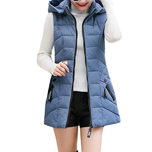 KaloryWee Ärmellose Damenweste Daunen Slim mit Tasche Reißverschluss Weste Strickjacke Kapuzenjacke