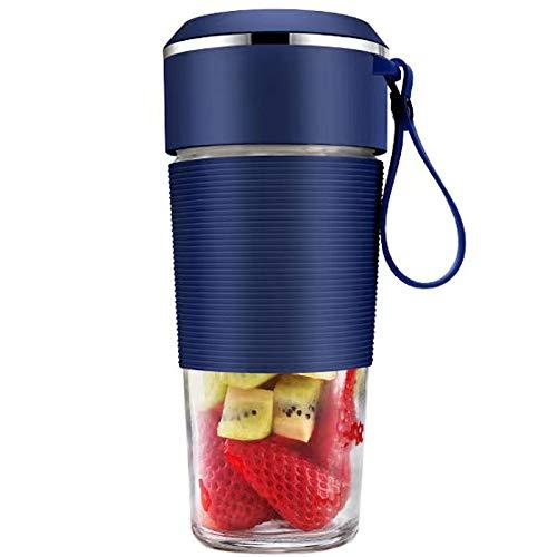 Juicer Cup, 300ml Portátil Multifuncional Exprimidor de Frutas eléctricas Juicería Extractor Mini tamaño Blender USB Recargable Limón Pendiente de Naranja con Paja para Viajar, 4 Cuchillas