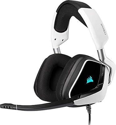 Corsair VOID ELITE RGB USB Gaming Headset (7.1 Surround Sound, Optimised Omnidirection Microphone, Customisable RGB Lighting, Microfibre Mesh Fabric Earpads, Aluminium Construction) - White