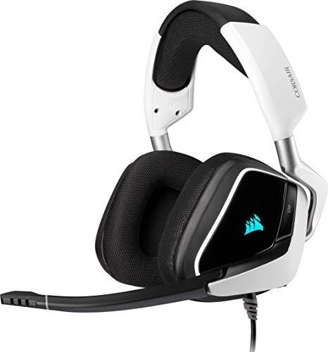 Corsair VOID ELITE RGB USB-Gaming-Headset (7.1-Surround-Sound, optimiertes Omnidirektionalmikrofon, anpassbare RGB-Beleuchtung, Ohrpolster aus Mikrofasernetzgewebe, Aluminiumkonstruktion) - Weiß