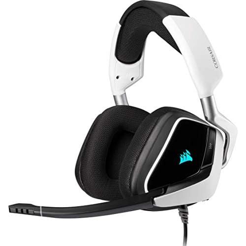 Corsair VOID ELITE USB Cuffie Gaming con Microfono Omnidirezionale Ottimizzato, Audio 7.1, Personalizzabili Illuminazione, Microfibra Tessuto Padiglioni, Bianco