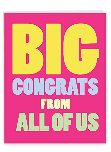NobleWorks - Jumbo Congratulations Greeting Card (8.5 x 11 Inch) - Group Congrats Notecard from All of Us, Groups - Big Congrats From Us J3893CGG