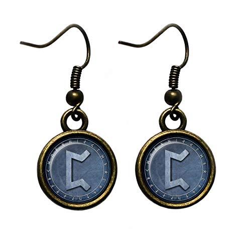 Viking Runes Elder Futhark Rune Circle P Peorth Hearth Feuerstelle Wikinger Runen Antike Bronze Ohrringe