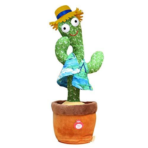 Cactus de Peluche Bailando Cactus, Regalo de Peluche para niños, muñeca de Peluche para niños, Juguete de Peluche para niños, Juguete de Bailar electrónico (Modelo de batería (3 Canciones en inglés))