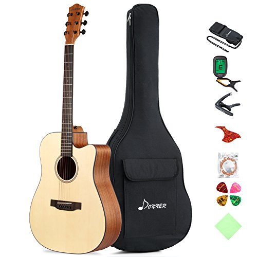 Donner 6 DAG-1C Beginner Acoustic Full Size, 41' Cutaway Guitar Bundle with Gig Bag Tuner Capo Picks Strap String, Right