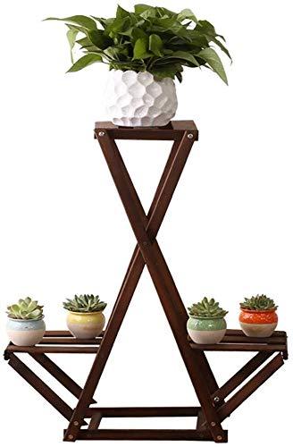 Dongyd Soporte de Flor de la Planta Cubierta Balcón Soporte de Suelo Soporte Multi-Capa Estante del pote de combinación de múltiples Funciones de la Sala de Estar de Madera Maciza de Flores