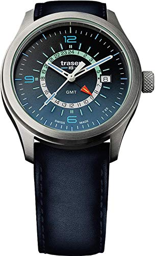 Traser H3 P59 Classic Aurora GMT Blue Tactical Watch Militare Orologio da polso in pelle