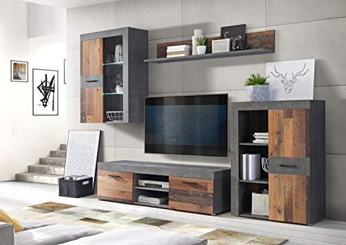 Wohnwand Grigor mit Beleuchtung in Betonoptik Dunkelgrau und Old Wood Vintage 4 teilig von Forte Anbauwand Wohnzimmer Mediawand TV- Wand …