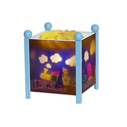 Trousselier - Zug - Nachtlicht - Magische Laterne - Ideales Geburtsgeschenk - Farbe Holz blau - animierte Bilder - beruhigendes Licht - 12V 10W Glühbirne inklusive - EU Stecker