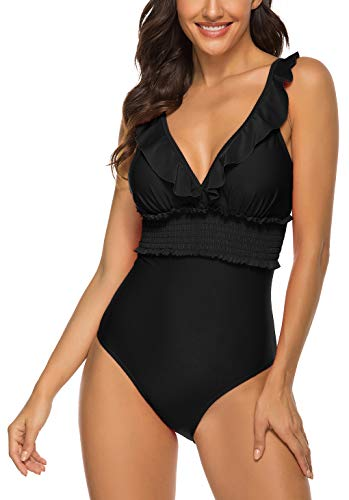 ChayChax Costume da Bagno Intero Donna Push-up Costume Mare Piscina Un Pezzi Bikini Swimsuit One Piece, Nero A, Taglia S