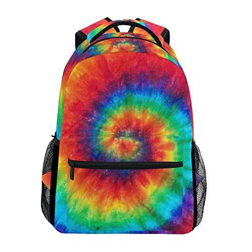 XLING Zaini Astratto Acquerello Vortice Tie Dye Multi Funzione College Canvas Book Bag Viaggio Escursionismo Campeggio Tela Daypack