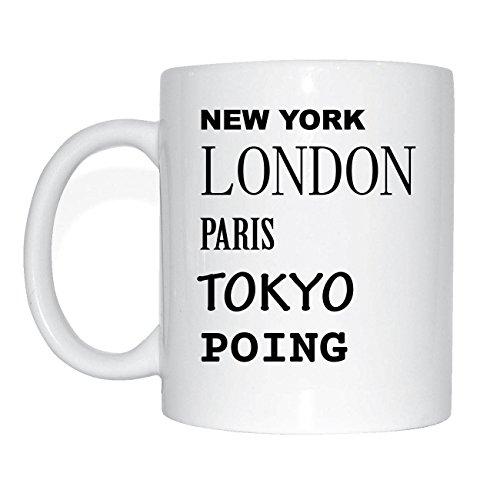 JOllify POING Kaffeetasse Tasse Becher Mug M2026 - Farbe: weiss - Design 2: New York, London, Paris, Tokyo