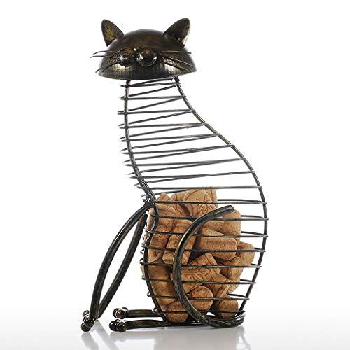 Yxyxml Europese stijl kat fles stop blikjes ijzer ambachten wijn stop opslag emmer huisdecoratie ornamenten
