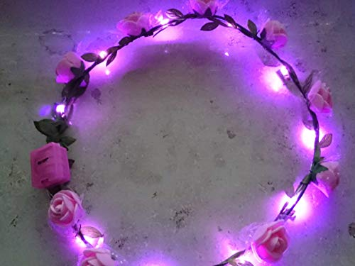 LED Haarreifen Leucht Blink Braut Blume Krone Blumenkranz Haar Reif blinky Haarreif wmulti (blaue Blüten mit blauem Licht)