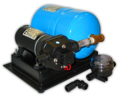 FloJet 02840100A Marine Hochvolumiges Wassersystem mit Akku (4,5 + GPM, 40 PSI, 12 Volt, 11 Amp), schwarz