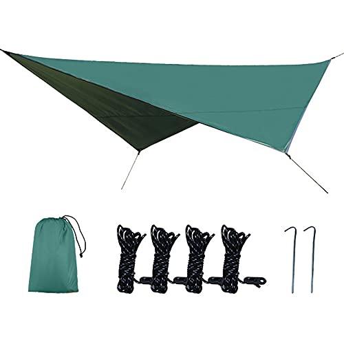 KUYH Tarpa De Camping Impermeable, Toldo Al Aire Libre Portátil, Forma De Diamante De Tela De Oxford con Recubrimiento De Plata 210D, Adecuado para Acampar Y Viajes Al Aire Libre (2.5 * 3.2M),Verde