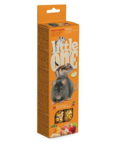 Little One Sticks für Hamsters, Ratten, Mäuse und Rennmäuse mit Früchten und Nüssen in Schachtel, 4er Pack (4 x 120 g)