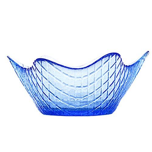 Juego de 3 mini cuencos de cristal, diseño de palomitas de maíz de avena para servir frutas, para servir cuencos transparentes para todo propósito, color azul