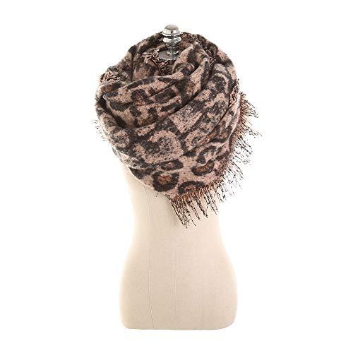 GAOQQ Acryl Schals Für Frauen, Herbst Und Winter Leopard Print Long Imitation Kaschmir Schal,Pink