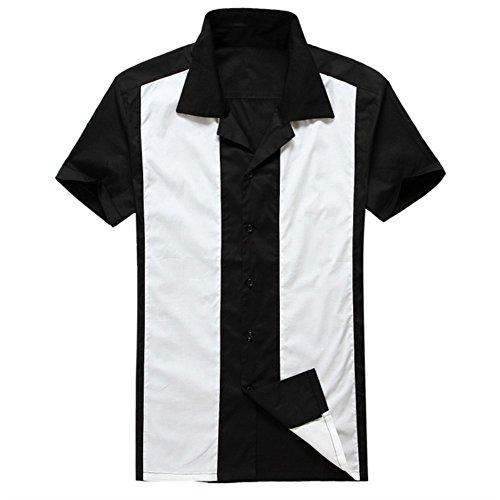Anchor MSJ Herren 50er Jahre Männliche Kleidung Rockabilly Stil Baumwolle Herren Hemden Kurzarm Fifties Bowling Casual Button-Down Shirts - Wei� - X-Groß