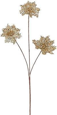 "Arcadia Silk Plantation 31"" Glittered Poinsettia Spray Gold (Pack of 12)"