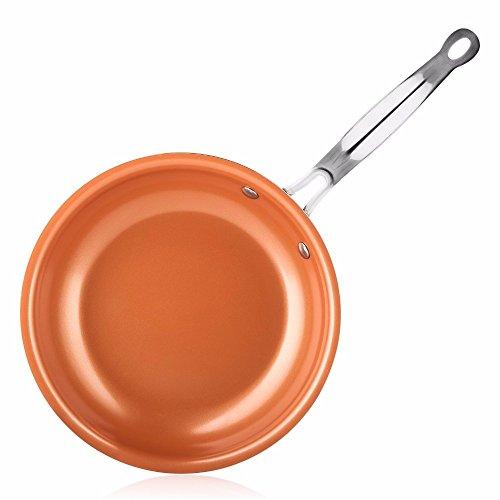 Bratpfanne Nicht-Stick Pfanne Kupfer Rot Pan Keramik Induktion Pfanne Pfanne Topf Ofen & Spülmaschinenfest 10 Zoll Antihaft pfanne