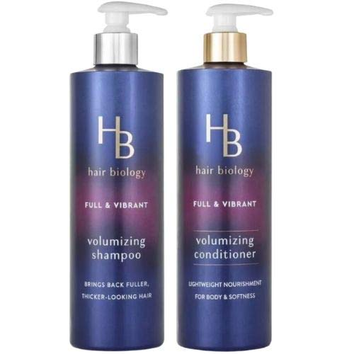 Hair Biology Volumizing Shampoo and Conditioner SET. 12.8 Fl Oz. Each Bottle. Full & Vibrant with Biotin. Fullness and Body For Fine or Thin Hair. Paraben and Dye Free.