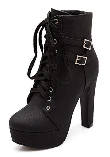 Minetom Damen Worker Boots Einfarbige Schnürsenkel Hohe Absätzen Stiefeletten mit Schnalle Blockabsatz Schuhe Outdoor Stiefel Z Schwarz 34 EU