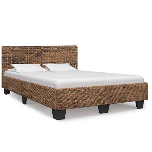 vidaXL Bettgestell Rustikal Bett Doppelbett Schlafzimmerbett Bettrahmen Schlafzimmermöbel Ehebett Rattanbett Natur Rattan 140x200cm