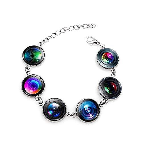 DJMJHG Accesorios para Pulseras con dijes Lente de cámara SLR Pulsera de Gemas de Tiempo Pulsera de Cristal Pulseras de joyería para Mujeres